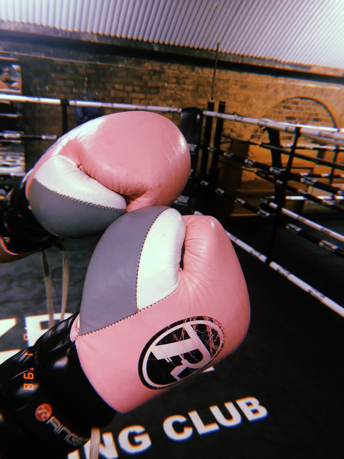 Boxing gloves pink London group fitness